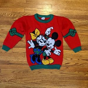 VTG Mickey Minnie Mouse Mistletoe Christmas Sweate